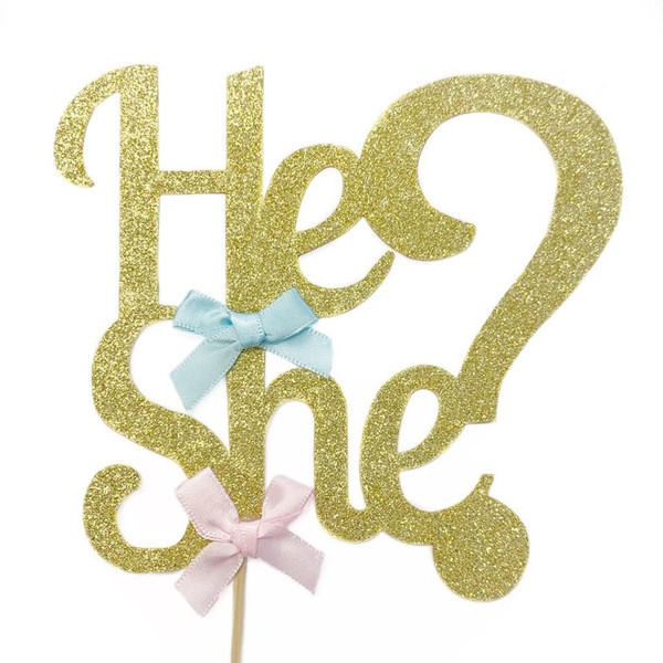 Cake Topper 'He or She' - Gold