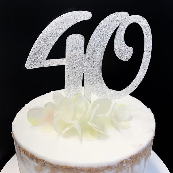 Acrylic Cake Topper Glitter #40 - SILVER