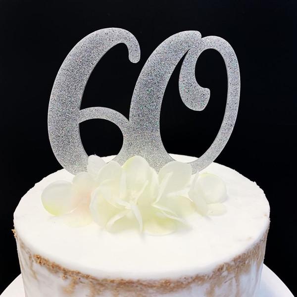 Acrylic Cake Topper Glitter #60 - SILVER