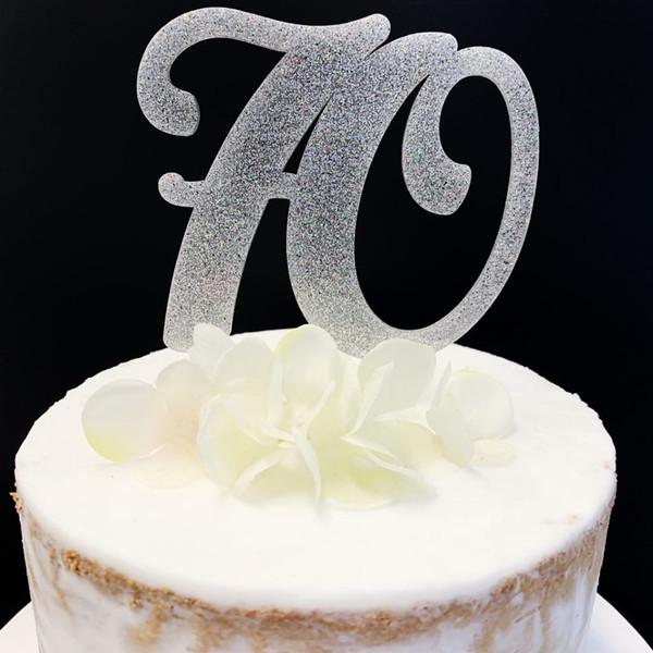 Acrylic Cake Topper Glitter #70 - SILVER