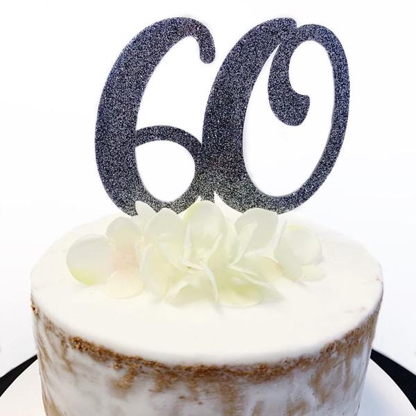 Acrylic Cake Topper Glitter #60 - BLACK