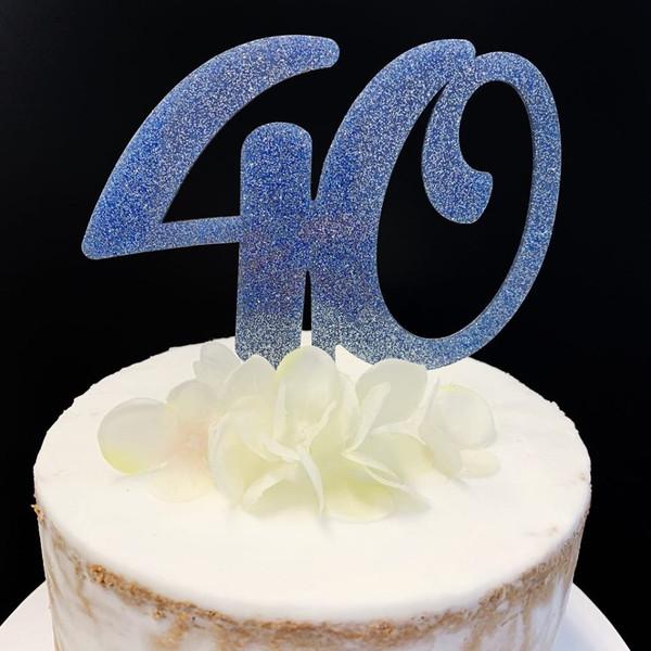 Acrylic Cake Topper Glitter #40 - BLUE
