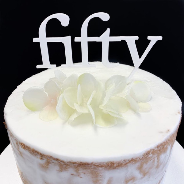 Acrylic Cake Topper 'Fifty' (Age Print) - WHITE