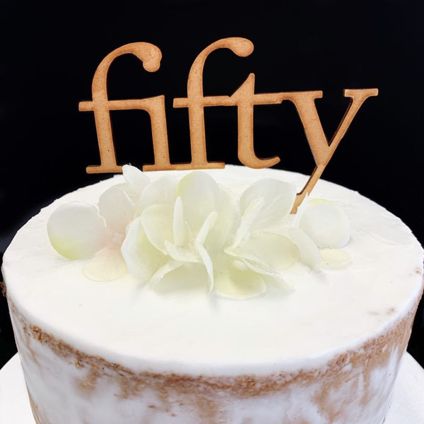 Cake Topper 'Fifty' (Age Print) - Timber
