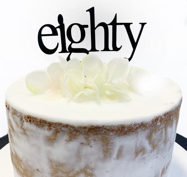 Acrylic Cake Topper 'Eighty' (Age Print) - BLACK