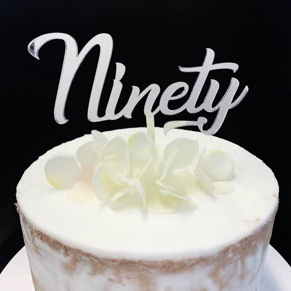 Acrylic Cake Topper 'Ninety' (Age Script) - SILVER