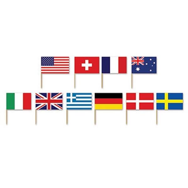 Assorted Decor Flags 50pc - International Flag