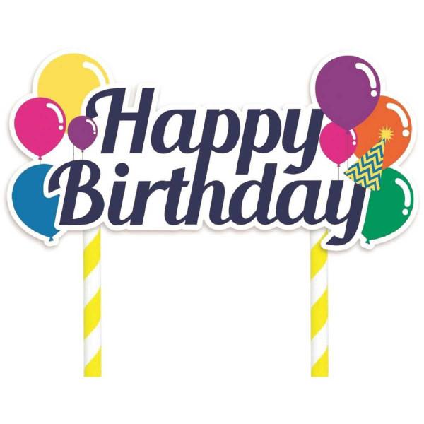 Cake Topper - Happy Birthday Balloons