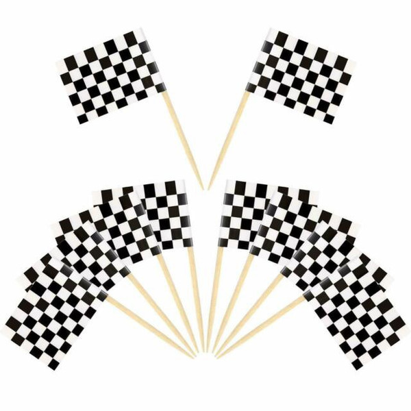 Assorted Decor Picks 10pc - Checkered Flag