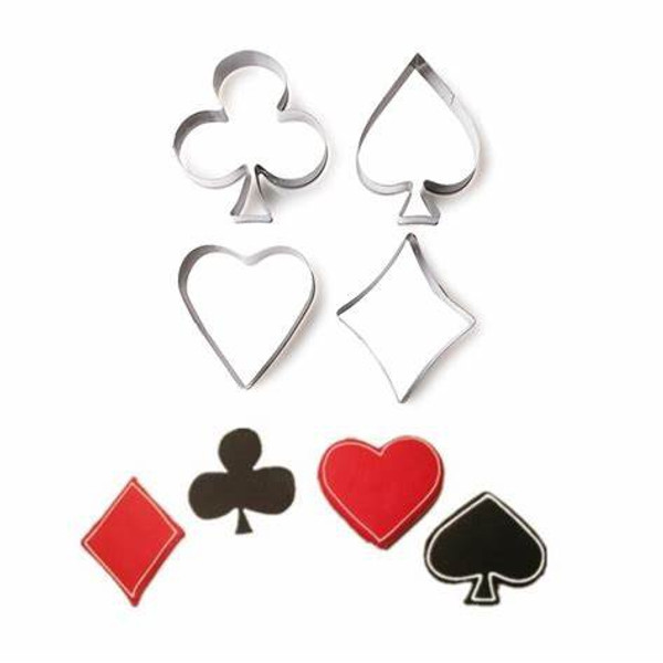 Stainless Steel Cutters 4pc - Card Game Suits