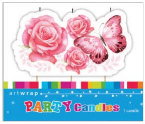 Birthday Candles - Roses & Butterfly