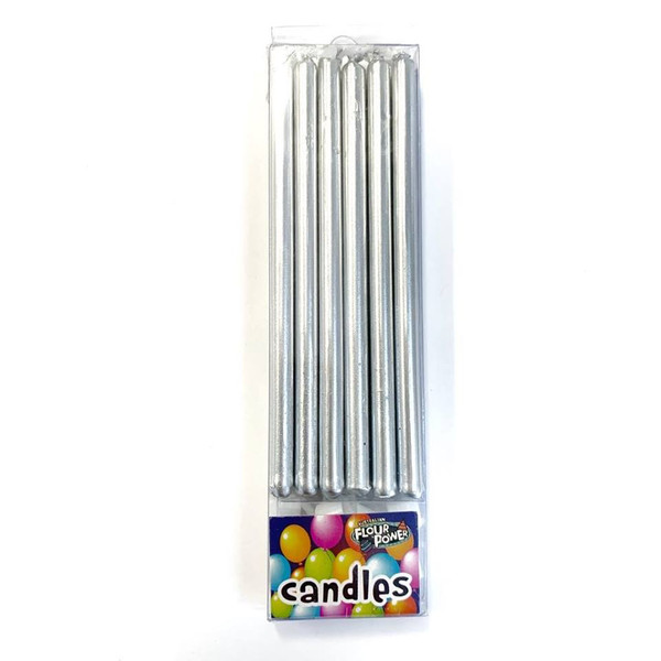 Birthday Candles Tall 12pc - Silver
