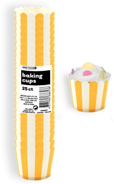 Cupcake Cups 25pc - STRIPES / YELLOW