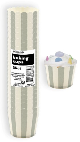 Baking Cups 25pc - STRIPES /  GREY