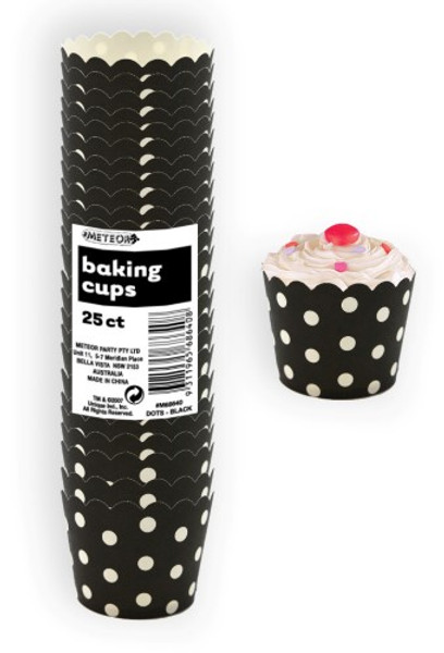 Baking Cups 25pc  - DOTS / BLACK