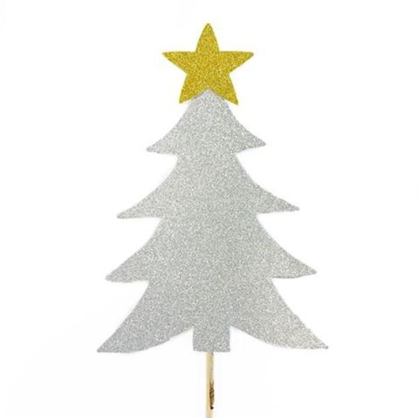 Cake Topper - Silver Christmas Tree