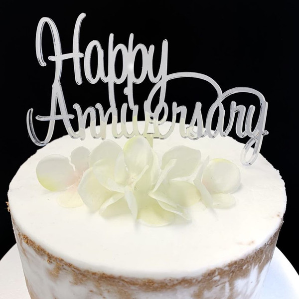 Acrylic Cake Topper 'Happy Anniversary' (Script) - Silver