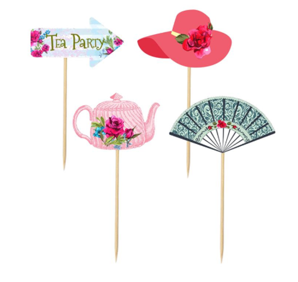 Cupcake Toppers - 12pc - TEA PARTY