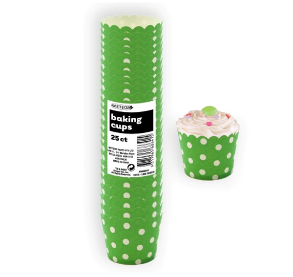 Baking Cups 25pc - DOTS / GREEN