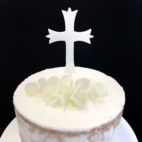 Acrylic Cake Topper 'Patonce Cross' - WHITE