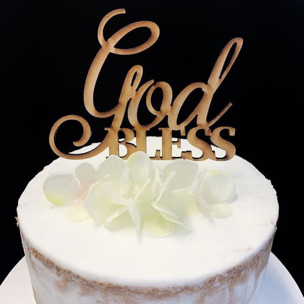 Cake Topper 'God Bless'  - Timber