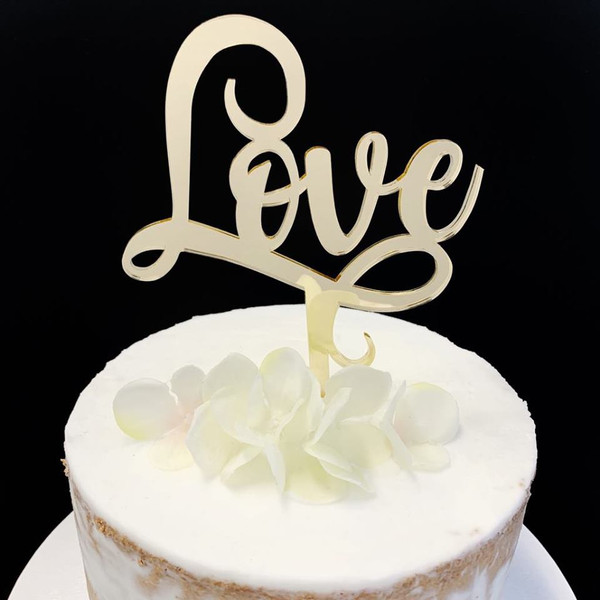 Acrylic Cake Topper 'Love' (Scrolly) - GOLD
