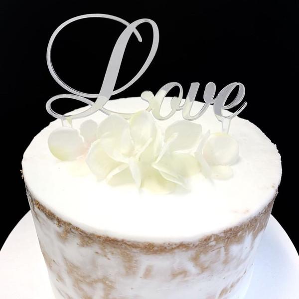 Acrylic Cake Topper 'Love' (Script) - SILVER