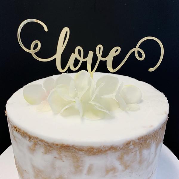 Acrylic Cake Topper 'Love' (Fine Script) - GOLD