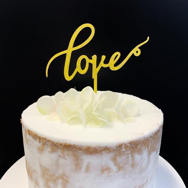 Acrylic Cake Topper 'Love' - GOLD GLITTER