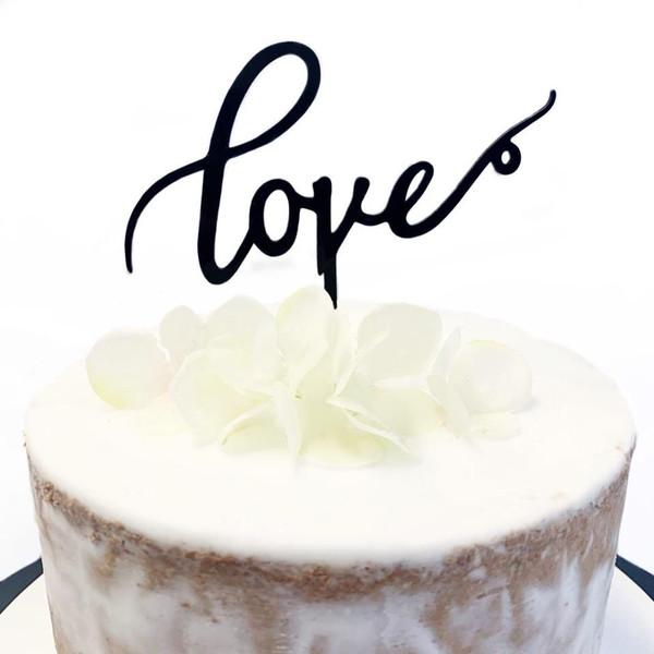 Acrylic Cake Topper 'Love' - BLACK