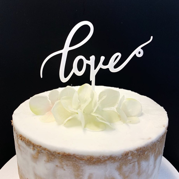 Acrylic Cake Topper 'Love' - WHITE