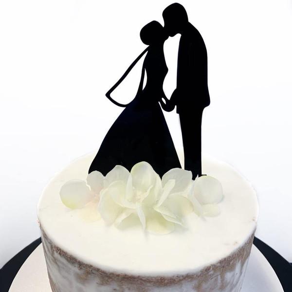 Acrylic Cake Topper 'Kissing Couple' - BLACK
