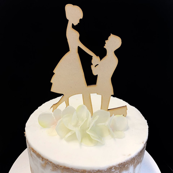 Cake Topper 'Proposal' - Timber