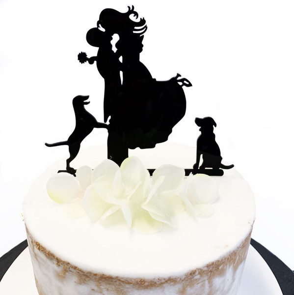 Acrylic Cake Topper (Wedding Hounds) - BLACK