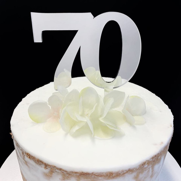 Acrylic Cake Topper Large #70 - SILVER