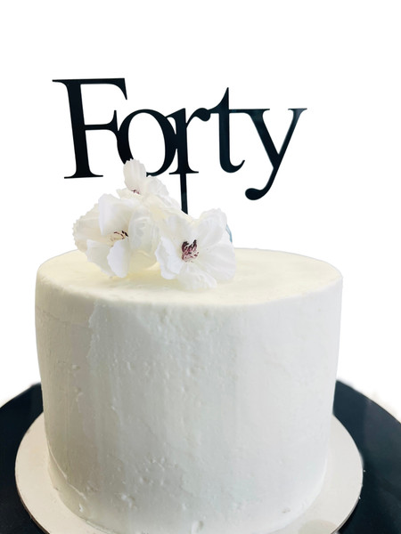 Acrylic Cake Topper 'Forty' (Age Print) - BLACK