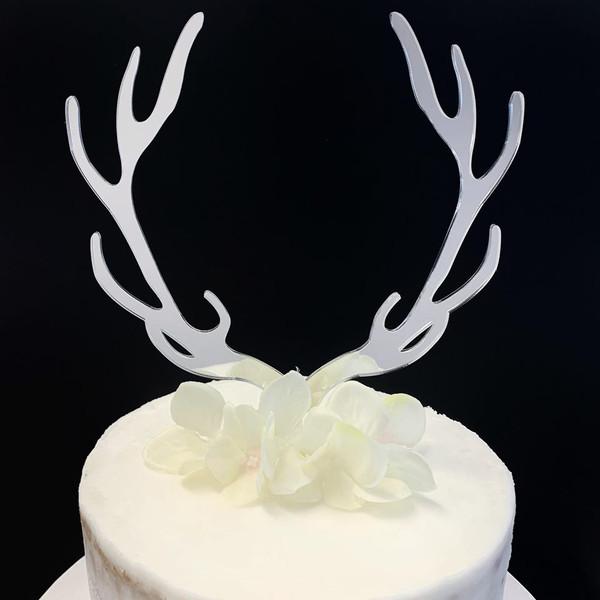 Acrylic Cake Topper 'Reindeer Antlers' - SILVER