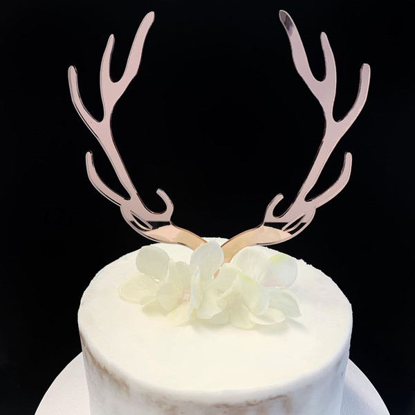 Acrylic Cake Topper 'Reindeer Antlers' - ROSE GOLD