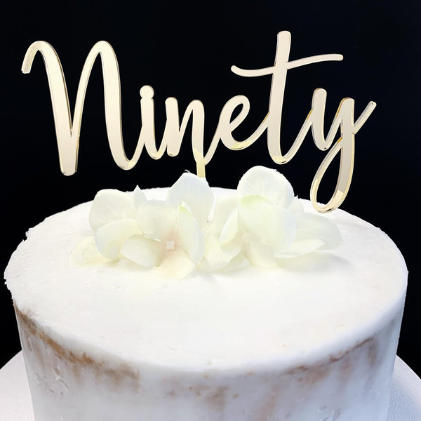Acrylic Cake Topper 'Ninety' (Age Script) - GOLD