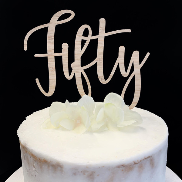 Cake Topper 'Fifty' (Age Script) - BAMBOO