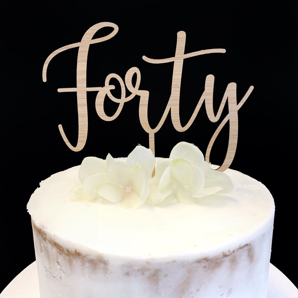 Cake Topper FORTY (Age Script) - BAMBOO