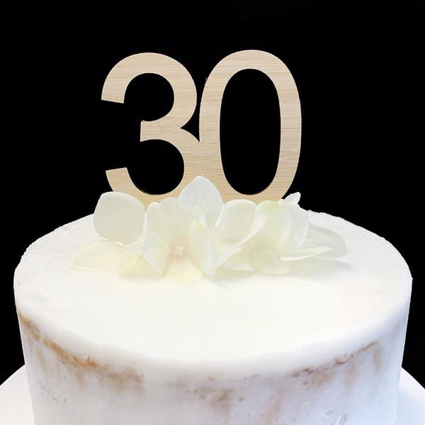 """Cake Topper """"30""""  7cm - BAMBOO"""