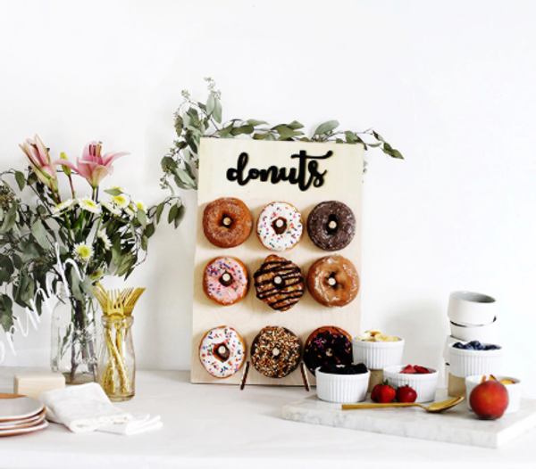 Wooden Donut Wall/Stand 9pc