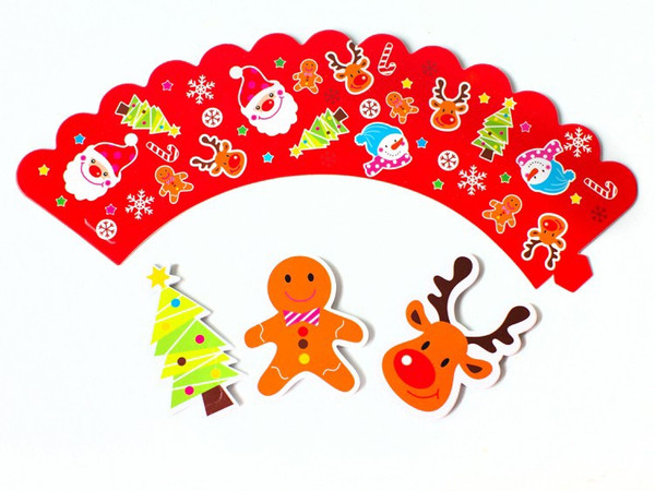 Cupcake Wrap & Toppers 12pc - Christmas