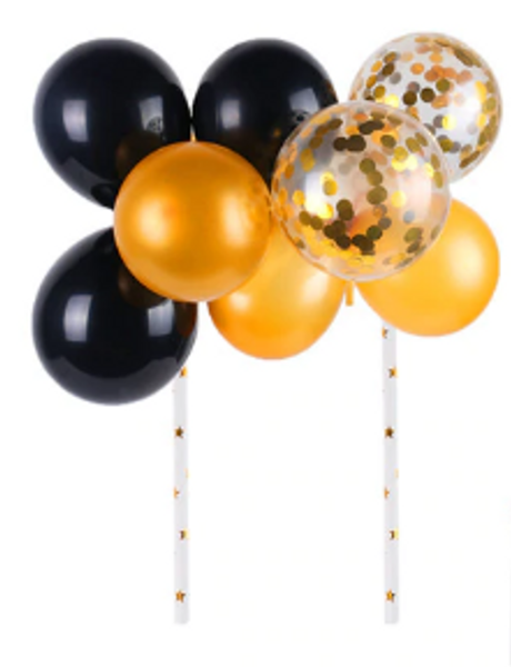 Cake Topper - Balloons/Sequins - Black & Gold