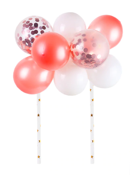 Cake Topper Set - Balloons/Sequins - Peach (Rose Gold) & White