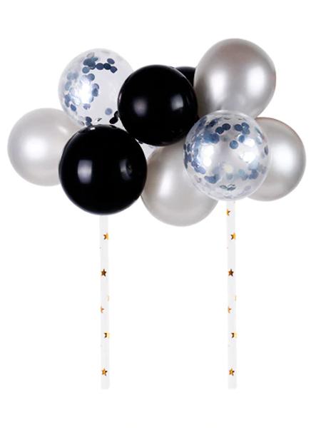 Cake Topper - Balloons/Sequins - Black & Silver