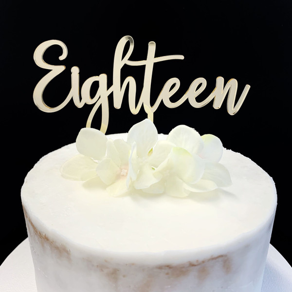 Acrylic Cake Topper 'EIGHTEEN' (Age Script) - GOLD