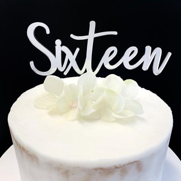 Acrylic Cake Topper 'SIXTEEN' (Fancy) - SILVER