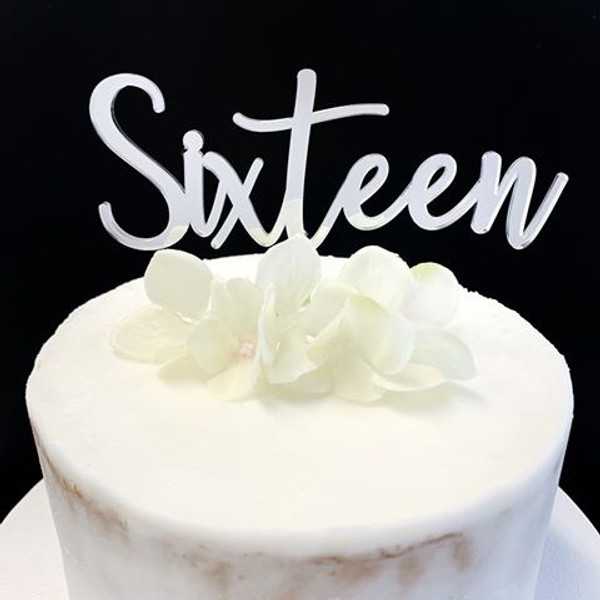 Acrylic Cake Topper 'SIXTEEN' (Fancy) - SILVER